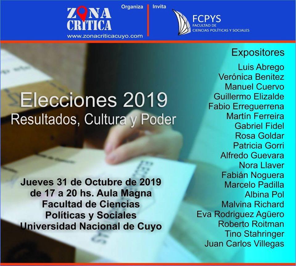 """""""ELECCIONES 2019: RESULTADOS, CULTURA Y PODER""""."""